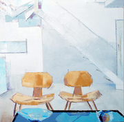White room with yellow chairs