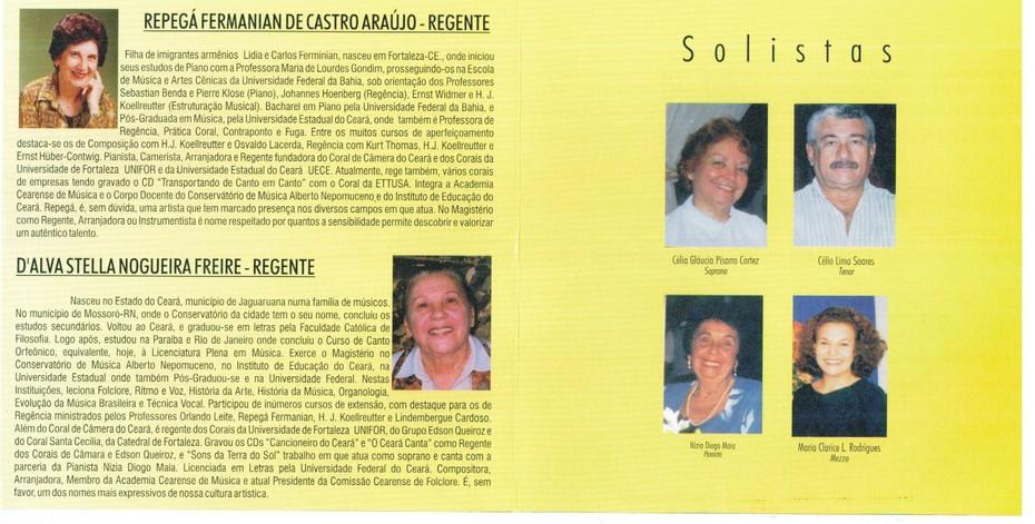 Regentes e Solistas do Coral de Câmera do Ceará