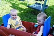 Matt and zach in the wagon2