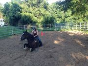 Logan learning to lay a horse down at Crossroads Ranch