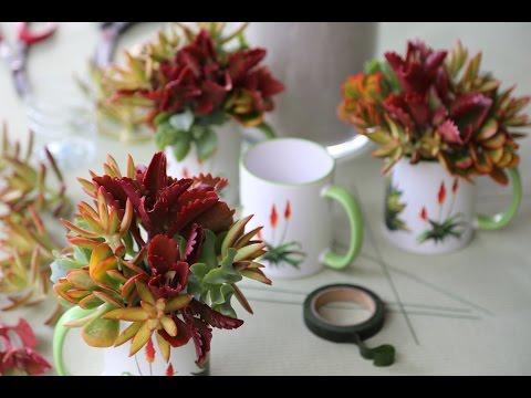 Make a Colorful Succulent Gift Mug Bouquet