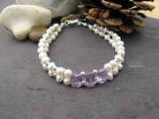 Double Drilled Amethyst and Pearl Bracelet