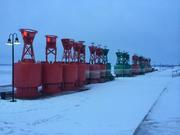Channel Markers on Dry Dock in the Winter