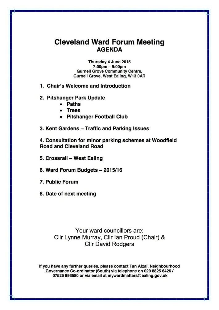 2Cleveland Ward Forum Meeting Agenda 4 June 2015