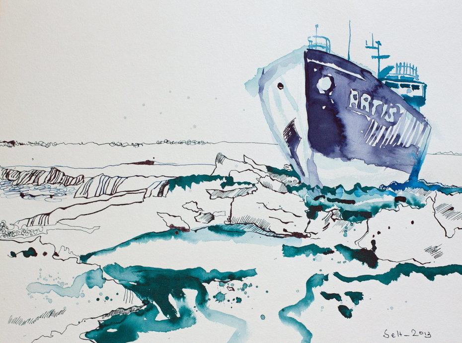 Eisbrecher Artis - 30 x 40 cm - Tusche auf Aquarellkarton (c) Zeichnung von Susanne Haun