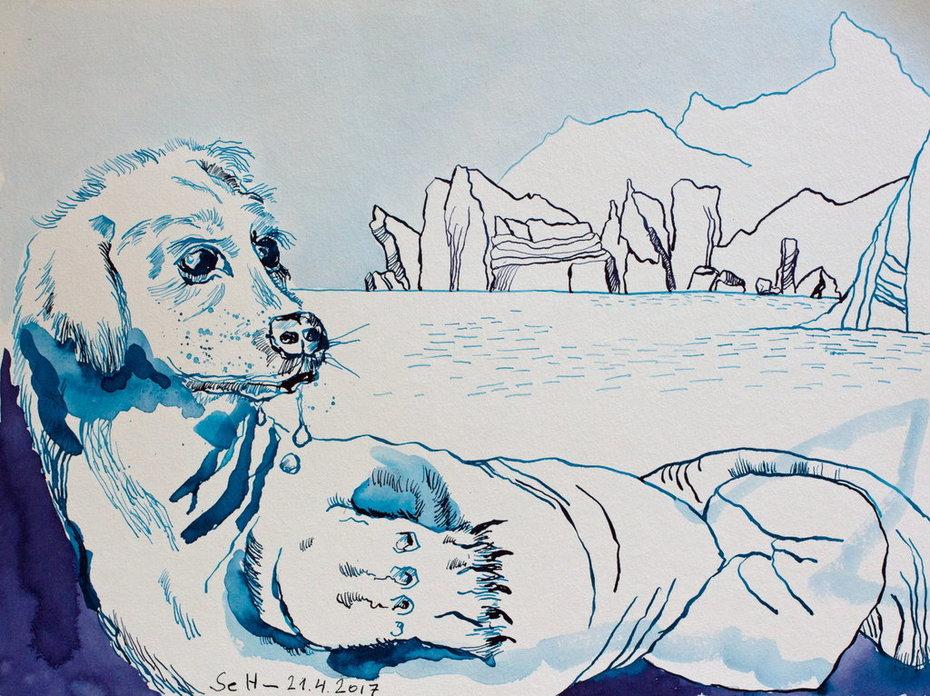 Der Hundemann – Mann von Uinigumasuittuq der späteren Sedna – 30 x 40 cm – Tusche auf Aquarellkarton (c) Zeichnung von Susanne Haun
