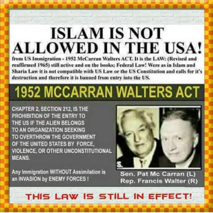 islam NOT allowed in USA