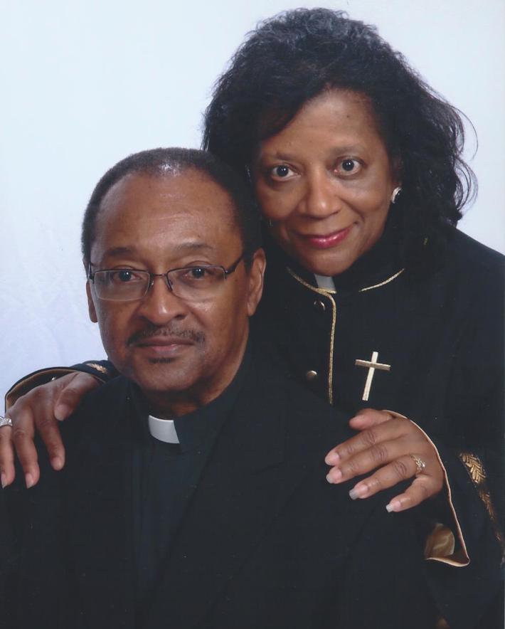Elder Rev. Dr. Martha A. Lewis posing with husband, Elder Rev. Dr. Jerry D. Lewis, Esquire; retired A.M.E.Zion Pastor