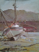 """Beached boat oil 10""""× 12"""""""