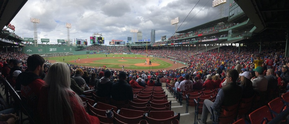 Dark and stormy panorama of Fenway
