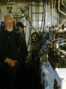 """Bilde0030. Broder Olav t.h. i maskinrommet på """"Granvin"""""""