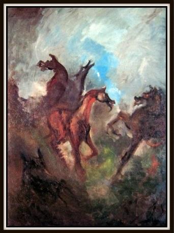 Dawn of Equuis, Oil-Wax on Canvas 5 feet 4 feet. Richard Ozanne. -100th Anniversary of Composer Franz Liszt Album, Ozan Marsh, London Philharmonic Cover -LP- CD (84)