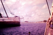 The Yankee and the Tavenui both on the reef at Avarua 1966. Photograph by Bill Johnson - Copyrighted