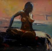 ''LIFE STUDY'' 1,  OIL,  15'' X 15'', 2010