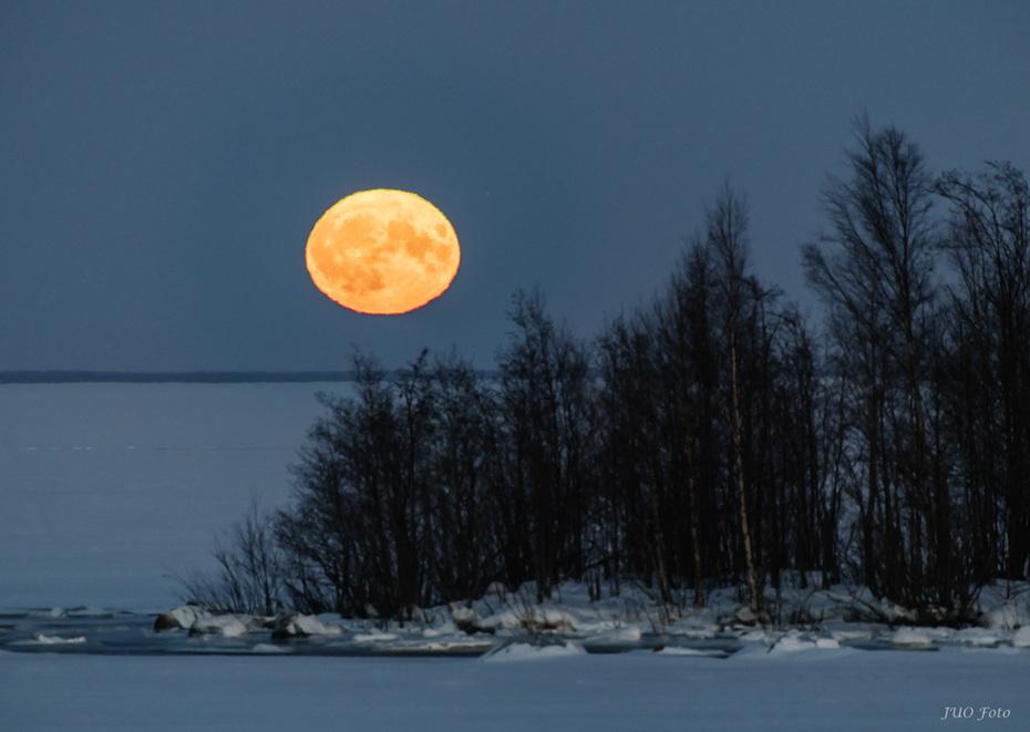 Supermånen uppe med Aldebaran