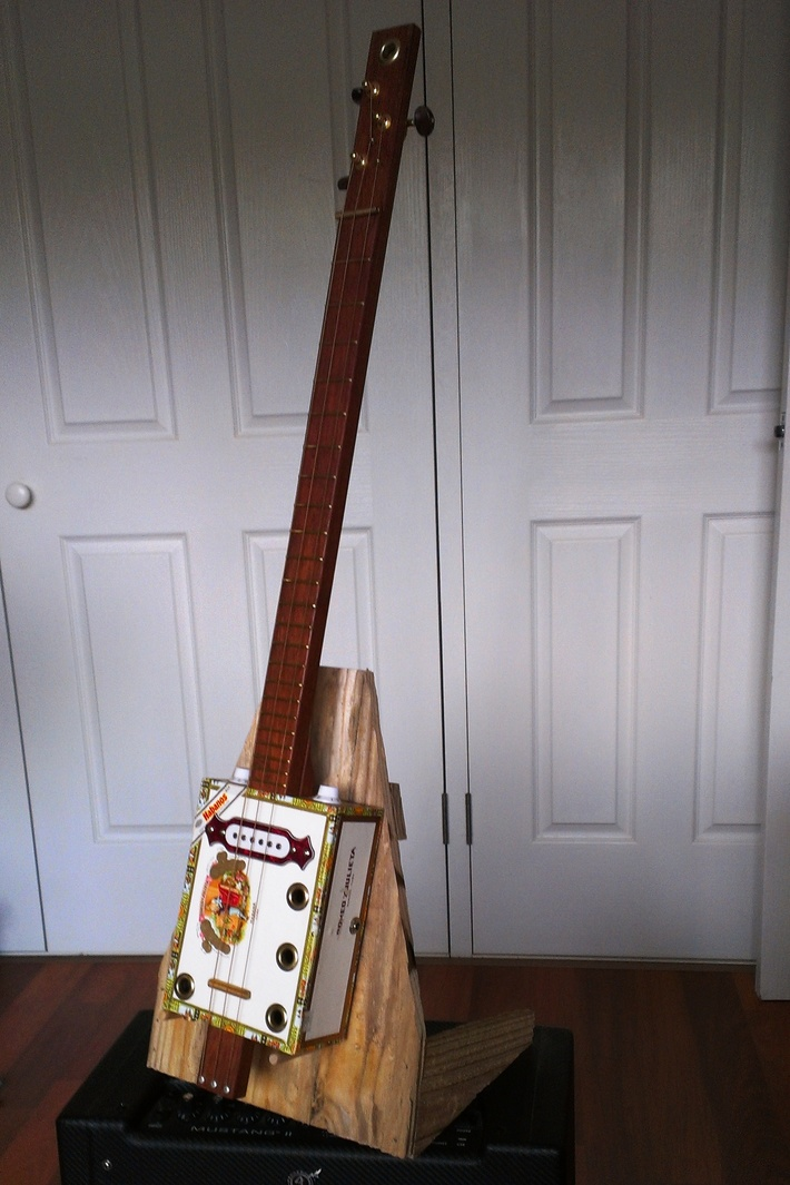 AGP's rustic home-made guitar stand, made out of water blasted 100mm x 15mm treated pine, ''cheap! - quick! and easy!'' (1)