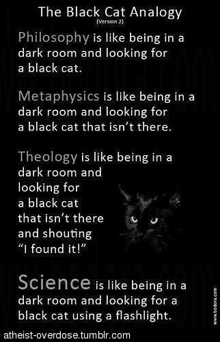 "The Black Cat Analogy [Version 2] - PHILOSOPHY is like being in a dark room and looking for a black cat. METAPHYSICS is like being in a dark room and looking for a black cat that isn't there. THEOLOGY is like being in a dark room and looking for a black cat that isn't there and shouting ""I found it!"" SCIENCE is like being in a dark room and looking for a black cat using a flashlight. [atheist-overdose.tumblr.com]"