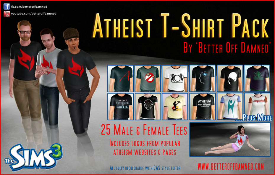 Atheist Shirts for Sims 3