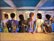 Nessa foto essas mulheres tem em suas costas a pintura de capas de cd do PINK FLOYD