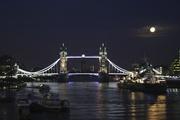 Moon over Tower Bridge at dusk