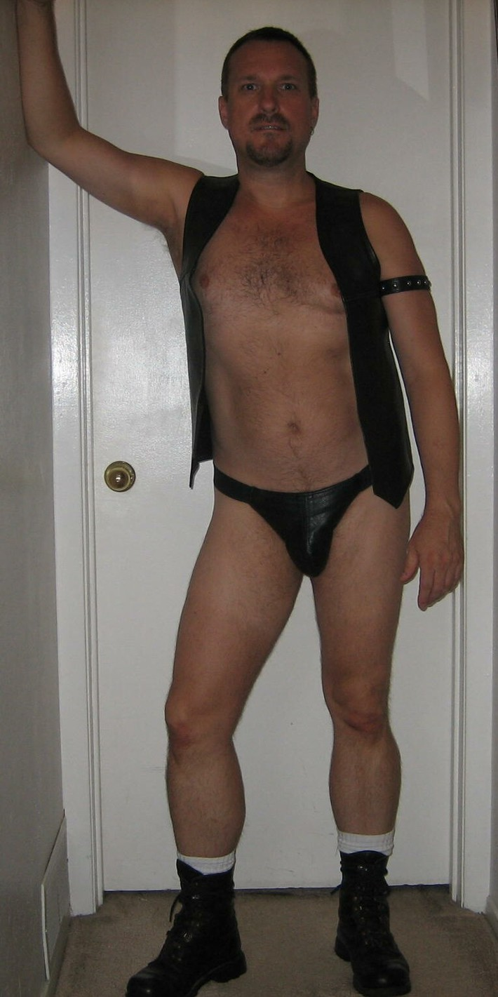 Leather vest and jock