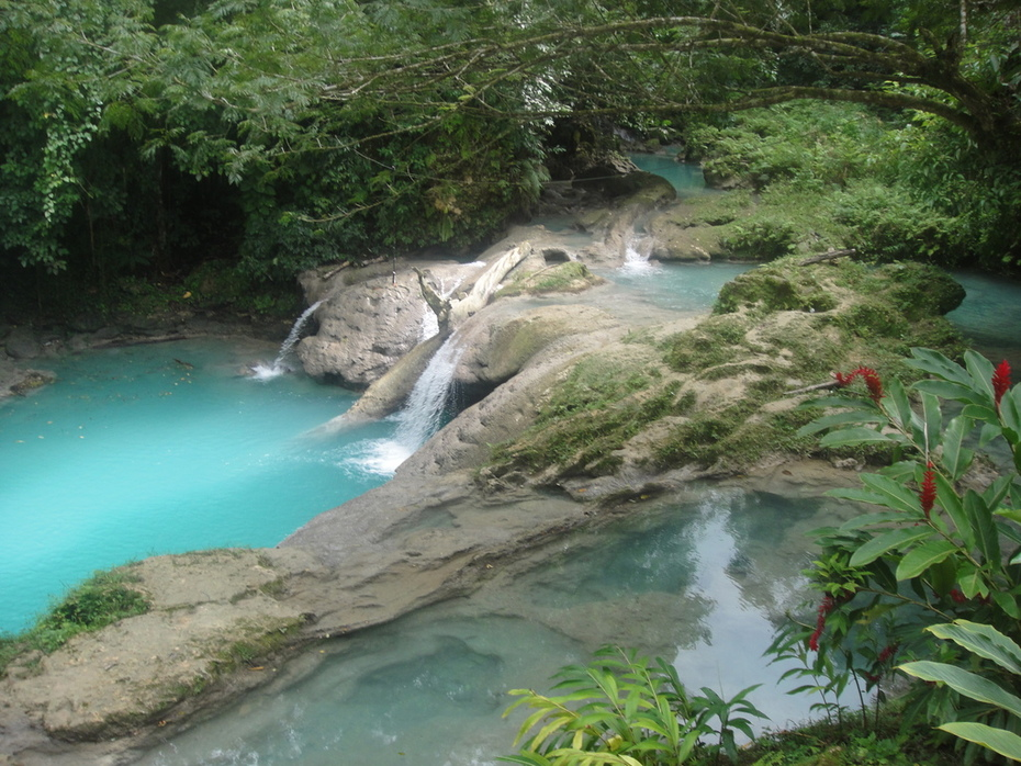 The Front Small Falls and its Beautiful Blue Pools of the Blue Hole Attraction