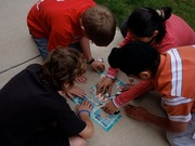 Students at Seneca Ridge Middle School's Ranger Steve Program working together to complete an activity.
