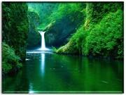 Waterfall on green land nature wallpaper
