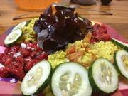 Salad, cucumbers, rice