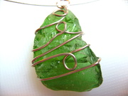 green beach glass pendant