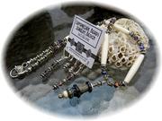 Purple, ivory and raku lampwork focal necklace