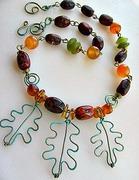 Oak Leaves & Multi Stone Necklace