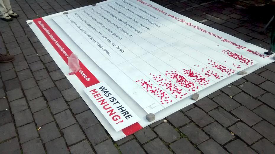 »Tag des Grundeinkommens« 2015 auf dem Kölner Heumarkt
