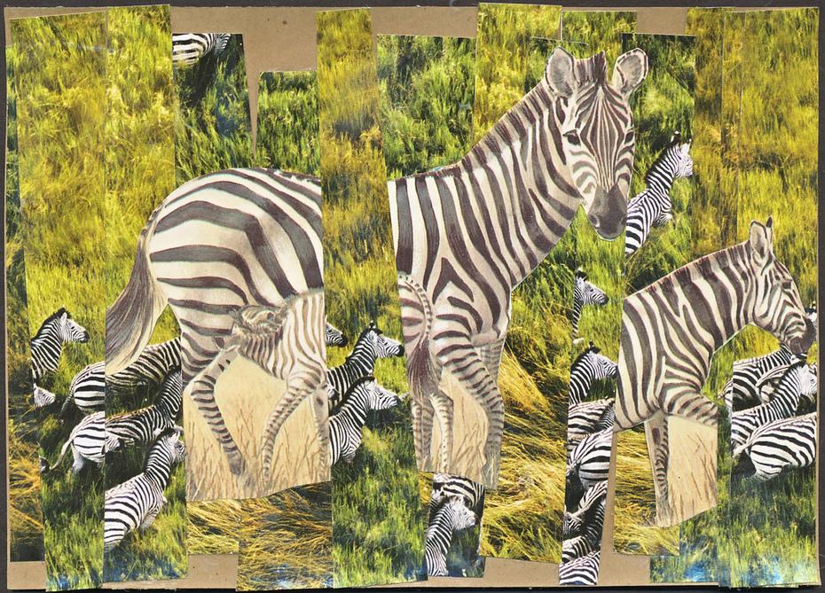 Collage postcard - stripes