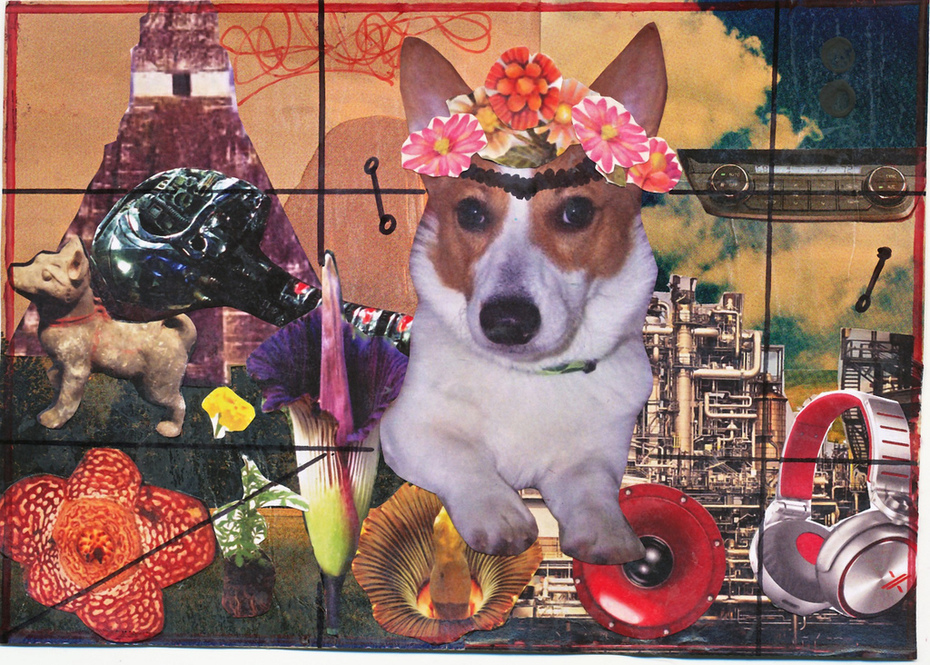 Collage postcard Snooky dressed like Frida Kahlo