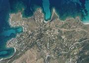 """Luftbildaufnahme der """"Marine de Davia"""" mit der Lage des Ferienhauses """"La Tramontane"""""""