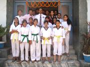 Tiger Nasim Khan with karatekas.