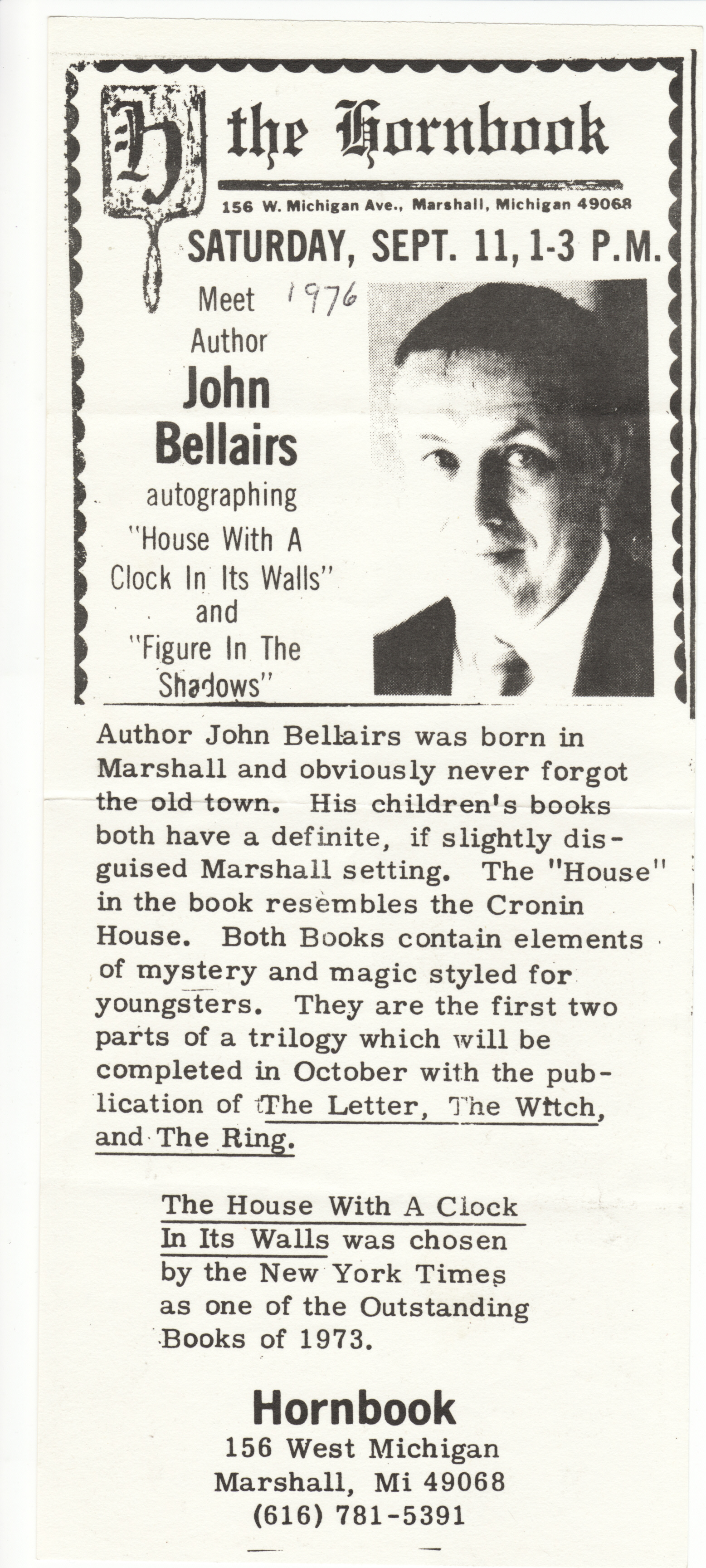 Bellairs book signing ad 1976