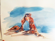 water color study of Arches Nat Park