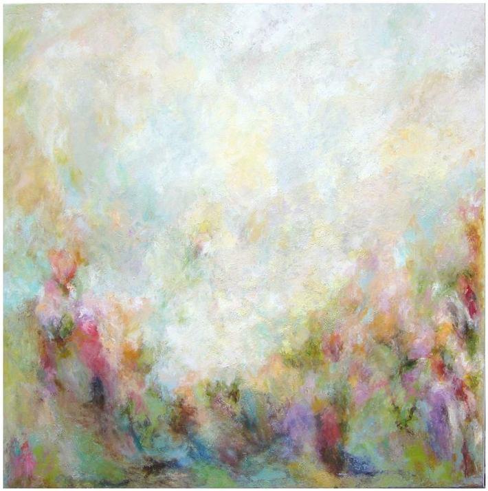 Garden view, H 100 x B 100 cm, Mischtechnik-Acryl, Leinwand auf Keilrahmen