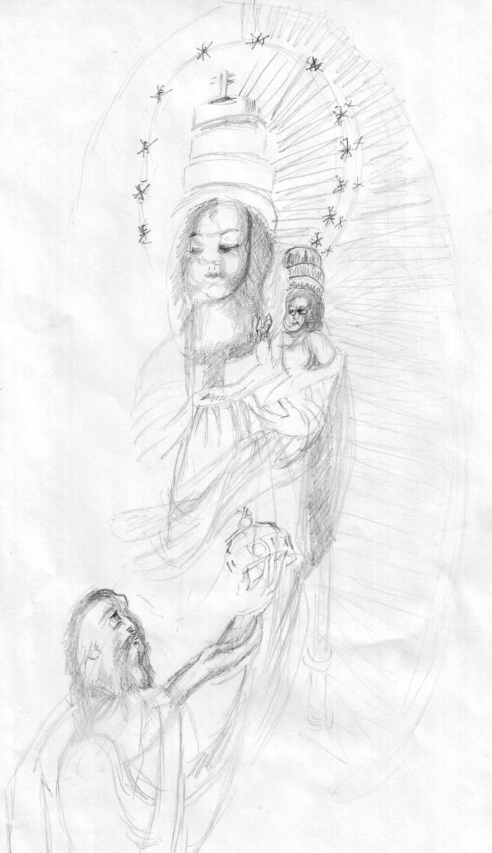 Napba öltözött asszony (a legutolsó rajz)