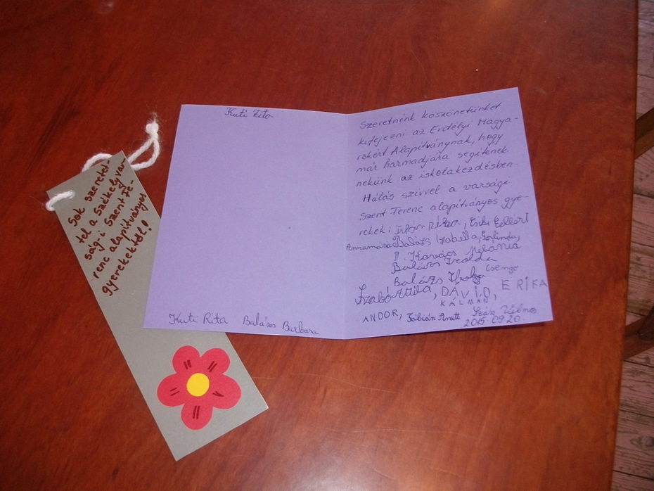 A székelyvarsági gyermekotthon lakóinak levele