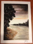 Alkonyat a vízparton (pasztellkréta, akvarell papír)
