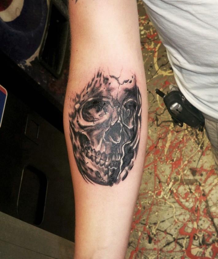 bad ass skull portrait tattoo Kevin Gordon, www.kevingordontattoos.com