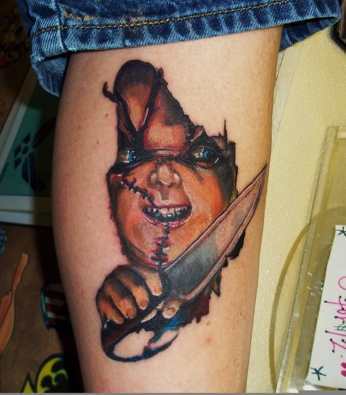 chucky portrait Kevin Gordon, tattoos,  www.kevingordontattoos.com