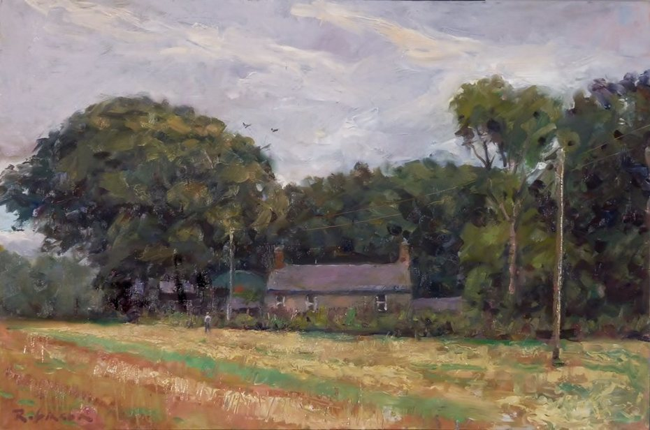 Stubble field and farmhouse, Wexford.