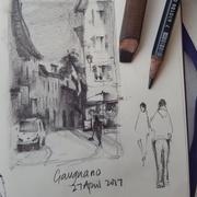 Amanda Brett artist plein air sketch gargnano, lake Garda Italy 2017 1