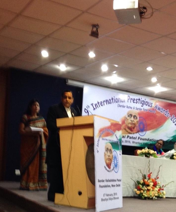 Addressing gathering after receiving Sardar Patel Ratna in New Delhi