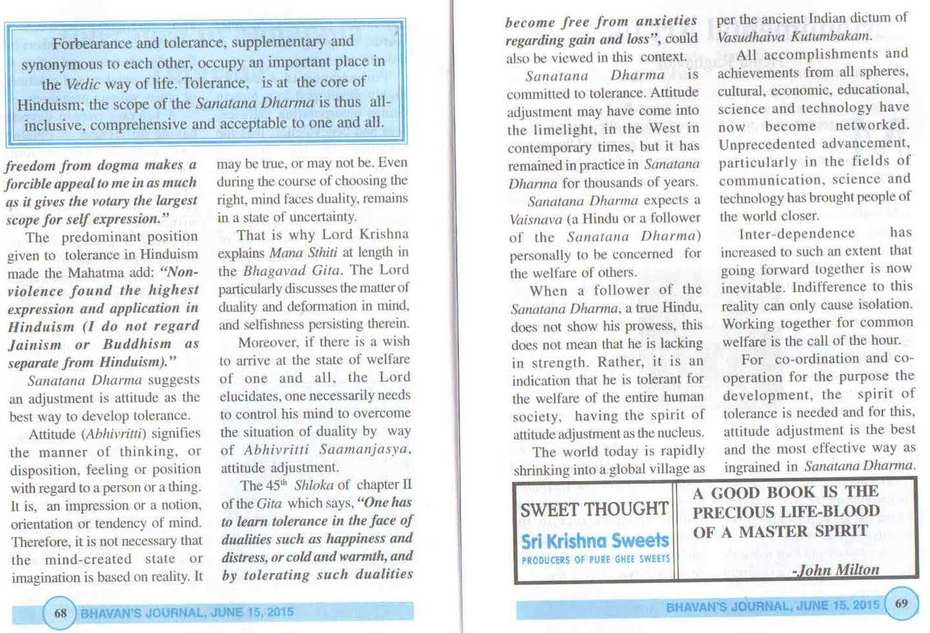 Ravindra Kumar on Tolerance in Sanatana Dharma in the Bhavan's Journal, Mumbai [India], June 15, 2015 2