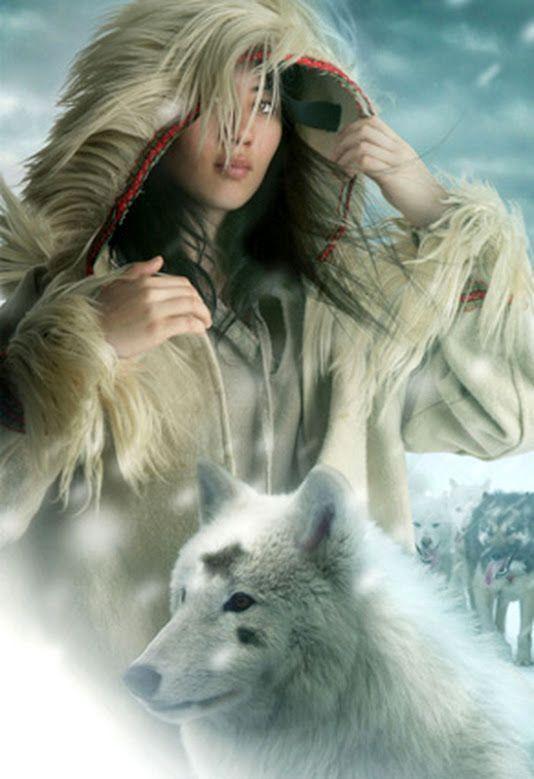 Alaskan woman with wolf